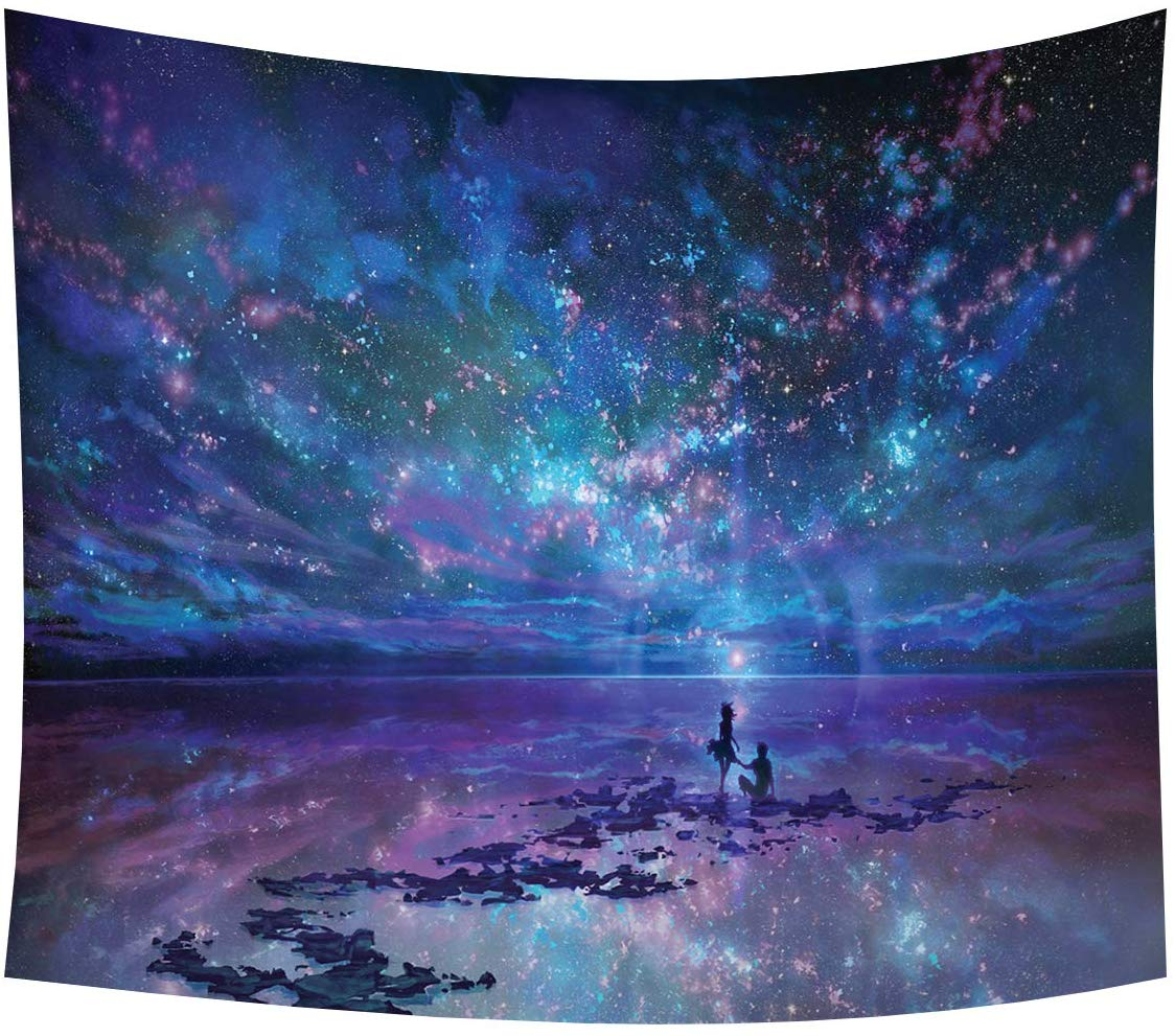 Psychedelic Star Tapestry Wall Hanging Universe Galaxy Sky Tablecloth Landscape Wall Decor