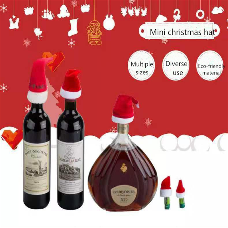 10Pcs Mini Christmas Hat Santa Claus Hat Xmas Apple Wine Bottle Caps Christmas Gift Caps Christmas Children's Party Toy Cap