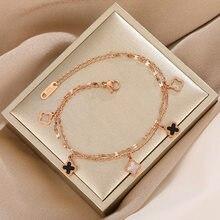 Senhoras sorte quatro-leaf trevo titânio aço pulseira namoradas estudante temperamento coreano simples presente jóias casuais