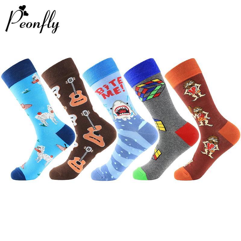 PEONFLY 1 Pair Men Socks Combed Cotton Cartoon Animal Shark Sheep Guitar Novelty Funny Socks Casual Harajuku Sokken