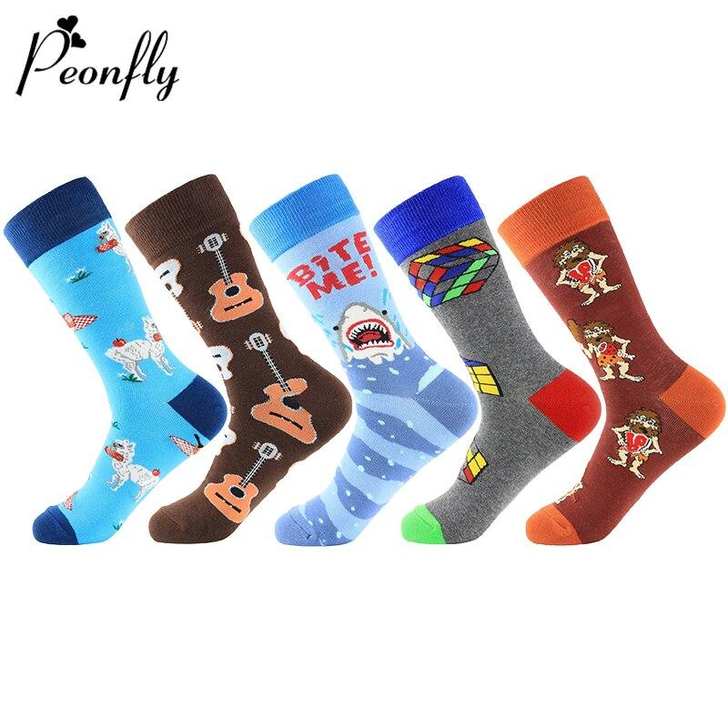 PEONFLY 1 Pair Men Socks Combed Cotton Cartoon Animal Shark Sheep Guitar Novelty Funny Socks Casual Harajuku Sokken