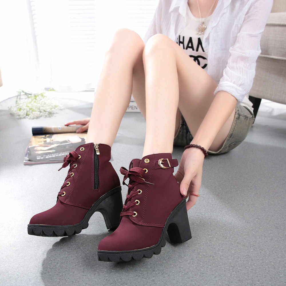 Frauen Mode High Heel Lace Up Ankle Stiefel Damen Schnalle Plattform Schuhe Mode Weibliche