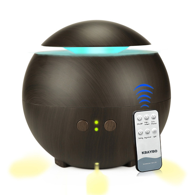 KBAYBO 600ML Remote Control Ultrasonic Air Humidifier Aroma Essential Oil Diffuser Wood Grain Home Mist Maker With LED Light