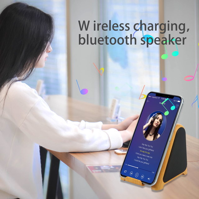 Wireless Charger with Bluetooth Speaker 2 in 1 Audio Player 10 W 7 5 W 5W
