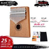 W-17T 17 teclas piano de pulgar Kalimba de alta calidad de madera de caoba cuerpo instrumento Musical con el libro de aprendizaje Tune Hammer para principiantes