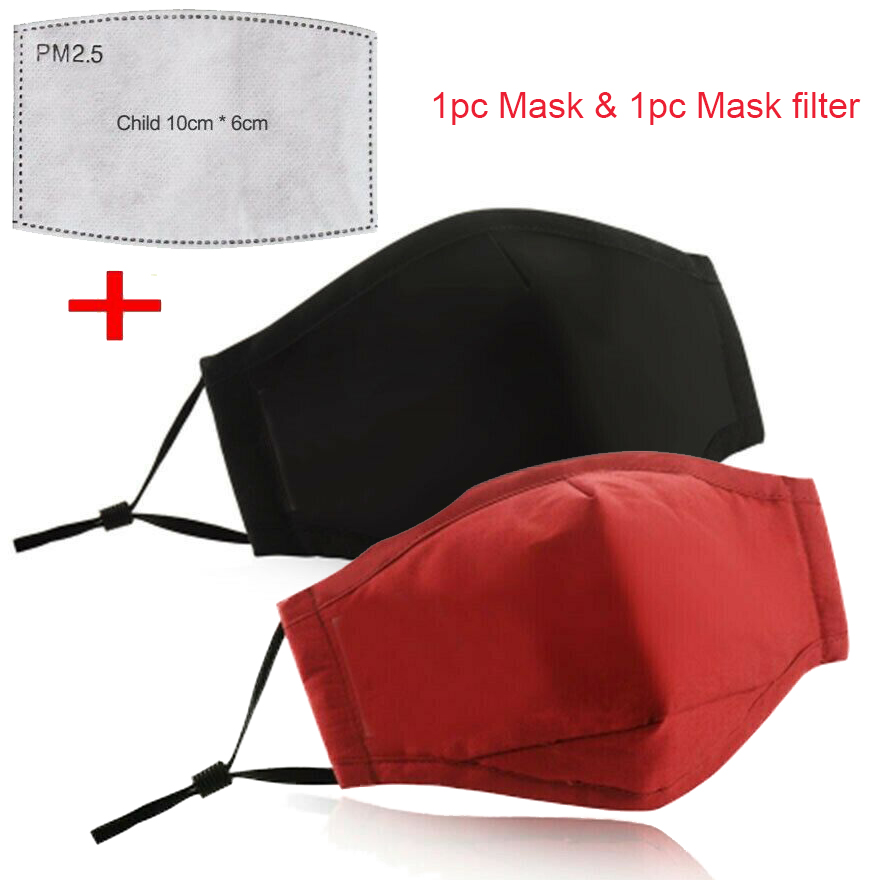 Mouth Mask Washable Reusable Face Mask Dust Exhaust Filter Respirator Cotton Cover