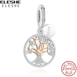 ELESHE Authentic 925 Sterling Silver Family Tree Of Life Charm Gold Bead Fit Original Pandora Charm Bracelet Pendant DIY Jewelry