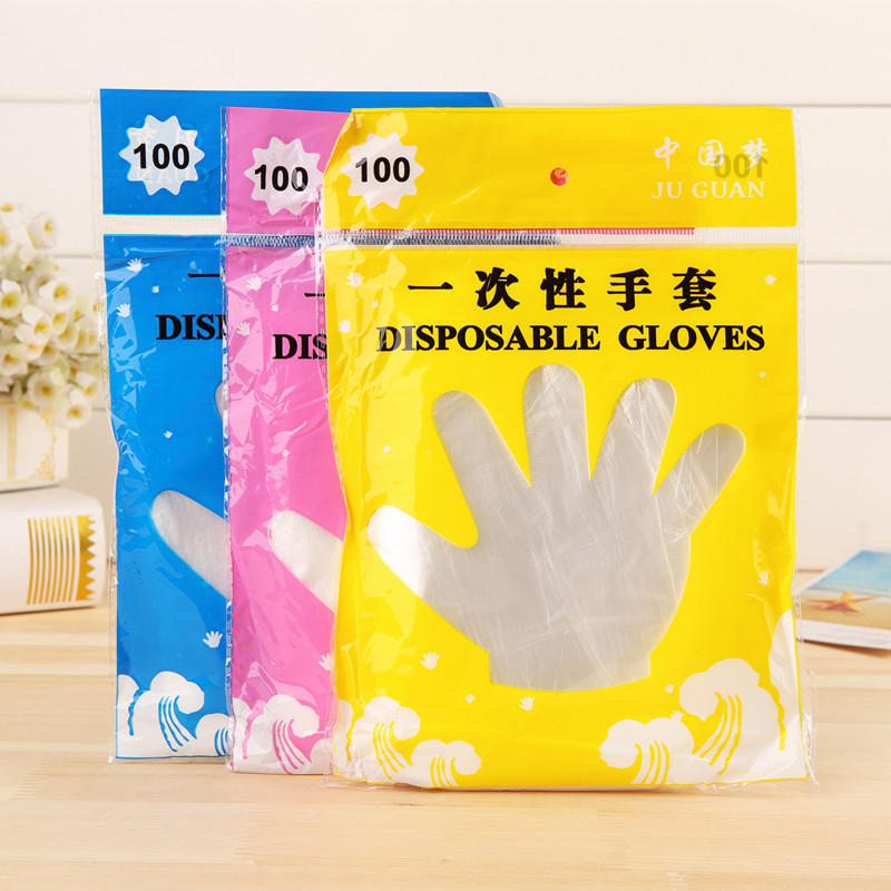 100pcs Food Plastic Gloves Disposable PE Home Kitchen BBQ Multifunction Clear Sanitary Gloves Plastic Dishwashing Catering Glove