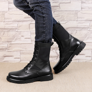 Image 4 - 2020 Mens Winter Boots Casual Genuine Leather Combat Boot Male Autumn Black Army Shoes Man Nice Military Boots for Men Big Size