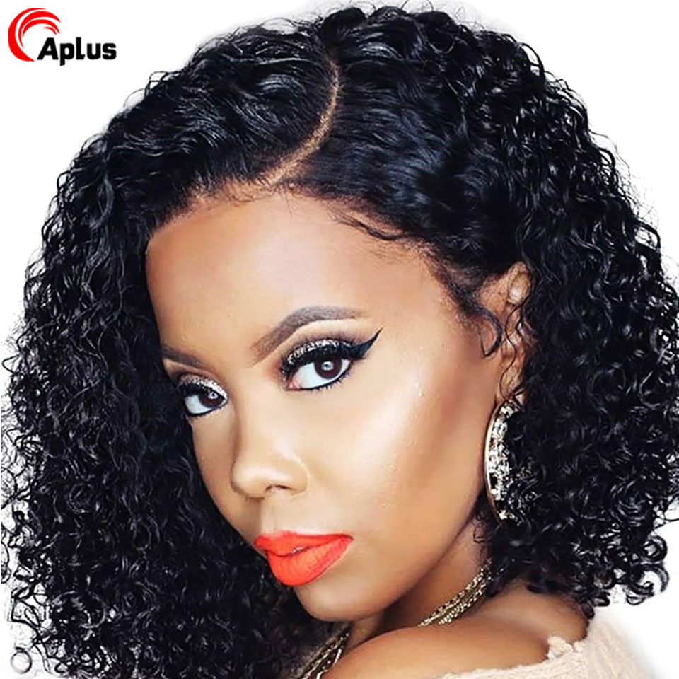 Short Water Wave Bob Wig 13x6 Lace Front Human Hair Wig 10 12 Inch Peruvian Remy Hair HD Lace Wigs Side Part 150 180 Density