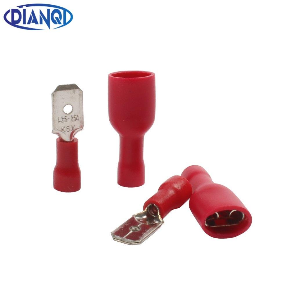 100 pces fdfd 1.25-250 MDD1.25-250 6.3mm vermelho fêmea + masculino pá isolado conectores terminais de friso elétrico cabo de fiação plug