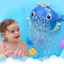 Children Electric Bubbler Portable Automatic Cartoon Dolphin Bubble Machine Blowing Bathing Play Water Toy