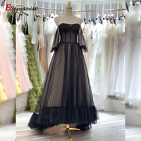 Black High Low Evening Dress for Women 2020 Aline Off the Shoulder Long Sleeves Prom Formal Party Gowns