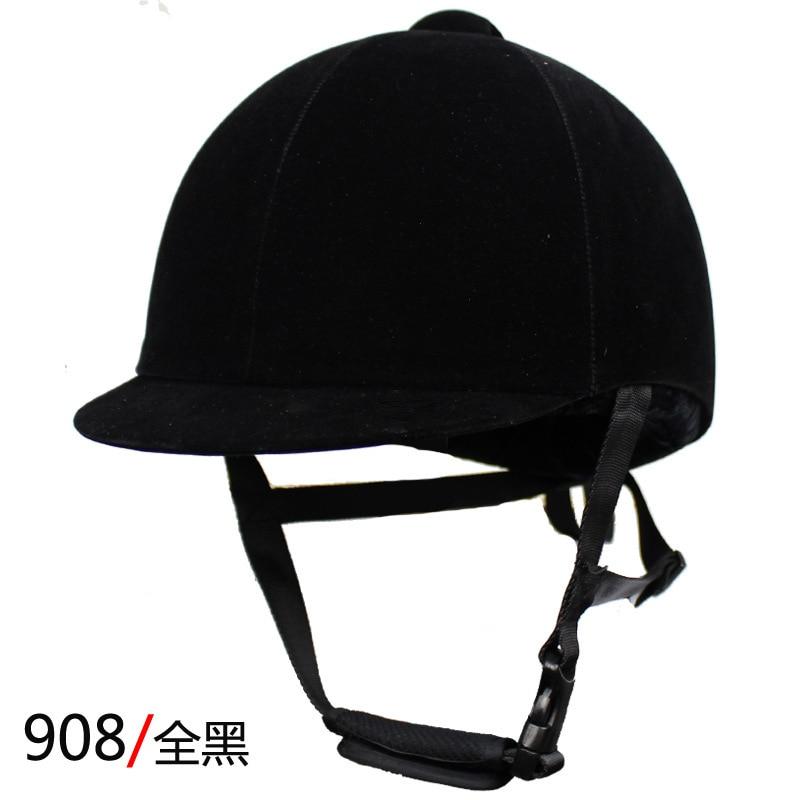 Equestrian Helmet Unisex Classic Velvet Horse Riding Helmet Horse Equipment Cycling Helmet Protection Cap 54-62cm Adjustable 2