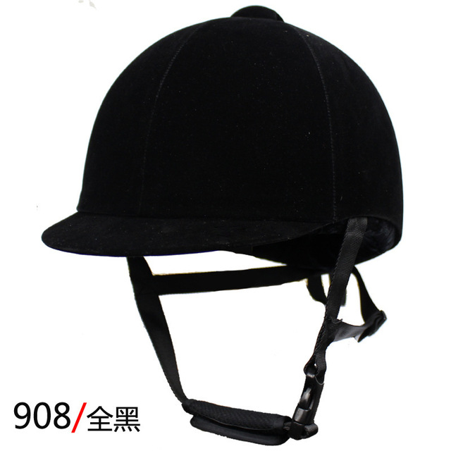 Equestrian Helmet Unisex Classic Velvet Horse Riding Helmet Horse Equipment Cycling Helmet Protection Cap 54-62cm Adjustable 2
