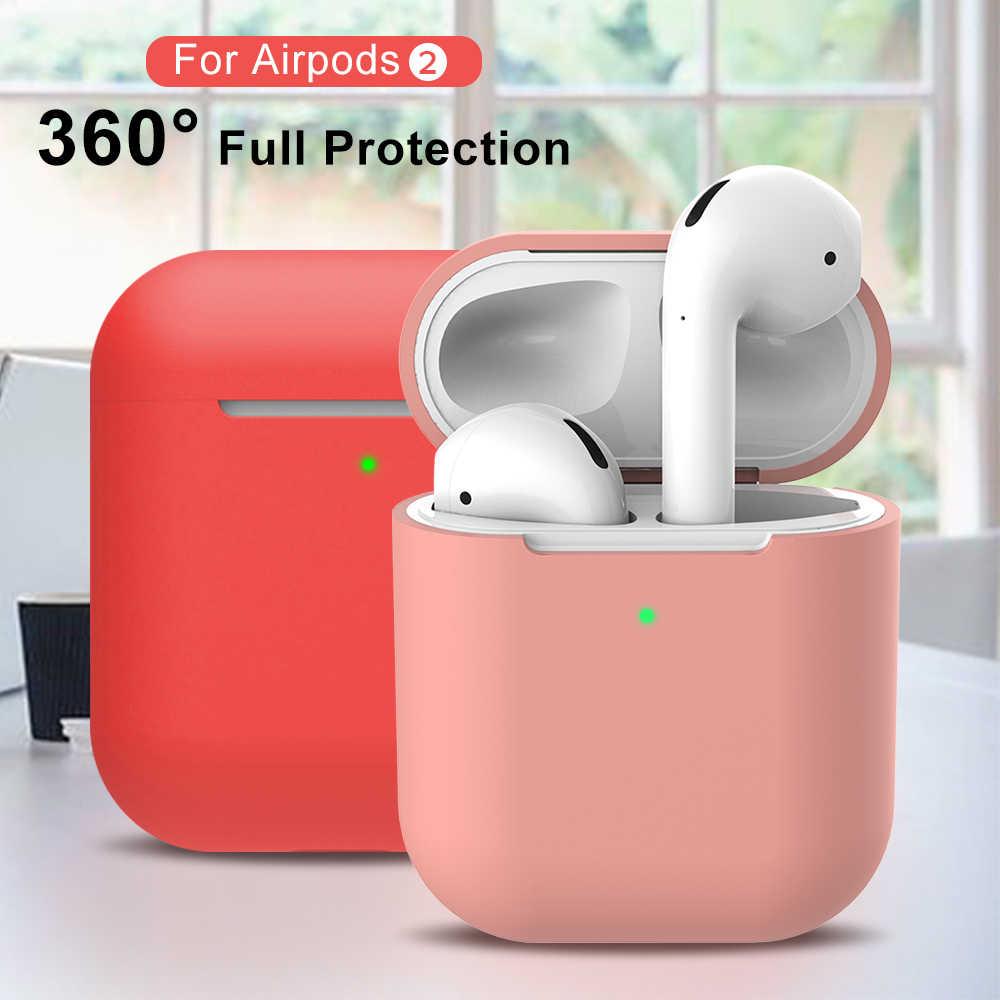 シリコンイヤホンケース Airpods 2 スキンスリーブポーチボックスプロテクターワイヤレスヘッドフォンのための Airpods 2nd 保護 Coque