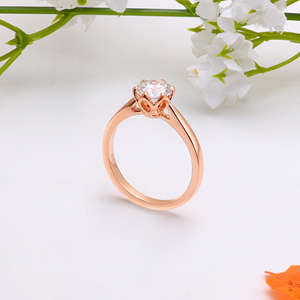 Image 2 - Transgems 14K Rose Gold Flower Shape Center 1ct 6.5mm F Color Solitaire Moissanite Engagement Ring for Women Fashion Jewelry