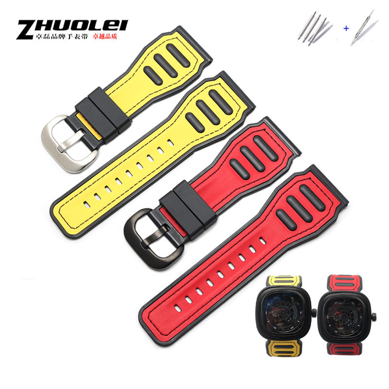 28mm Men's personality Watchbands for Seven on Friday Strap Silicone Rubber Watch Accessories Waterproof Wrist band Bracelet