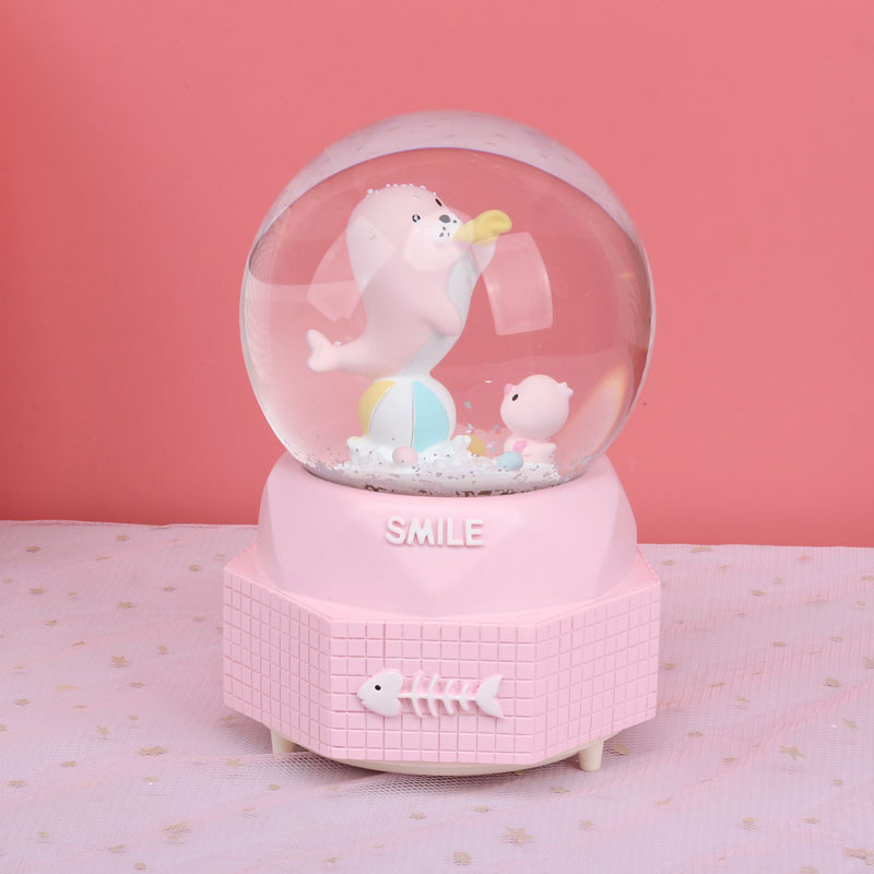 Creative Cartoon Seal Snow Globe Crystal Ball Rotating Music Box Christmas Decoration For Home Home Decoration Accssories