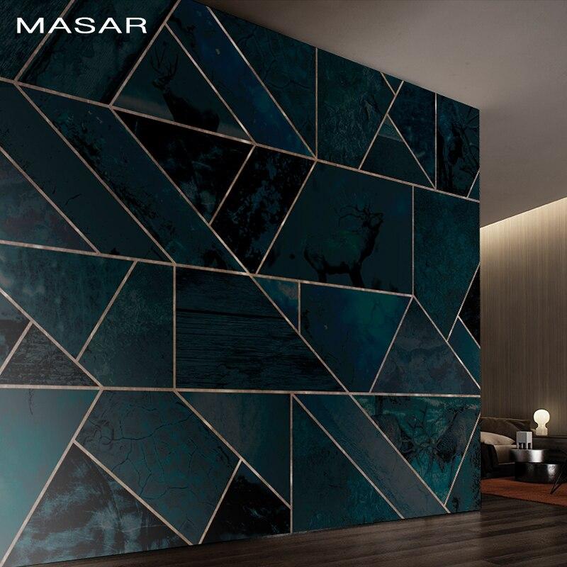 MASAR Green Line Splicing Geometric Pattern Mural High-end Entertainment Scene Background Wall Paper Davidianus