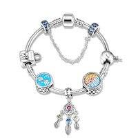 StrollGirl new 100%925 Sterling Silver Trenday Dreamcatcher Pendant Ocean Charm Bracelet Women's Sterling Silver Jewelry Gift