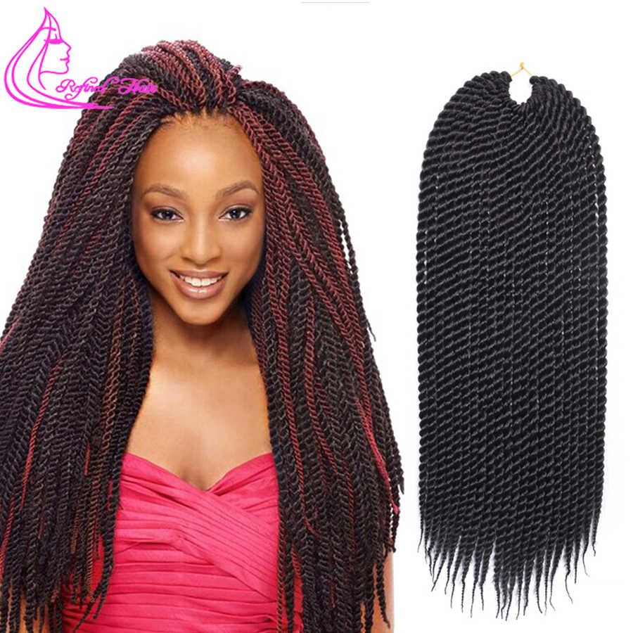 Refined Hair 22Inch 0.8cm Diamater Handmade Crochet Braids Senegalese Twist Hair Extensions Ombre Synthetic Braids 22Strands/pc