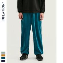 INFLATION 2020 FW Men Track Pants Loose Fit Overalls Solid Color Men Track Pants Streetwear Flannelette Fabric Men Pants 93381W