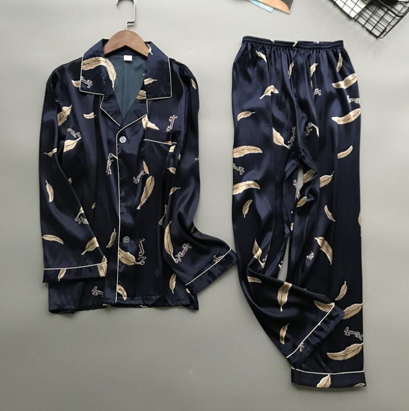 Oversize 3XL New Casual Men Pajama Pijama Set Satin Long Sleeve Shirt+Pants Home Wear Print Male Nightwear 2PCS Sleepwear