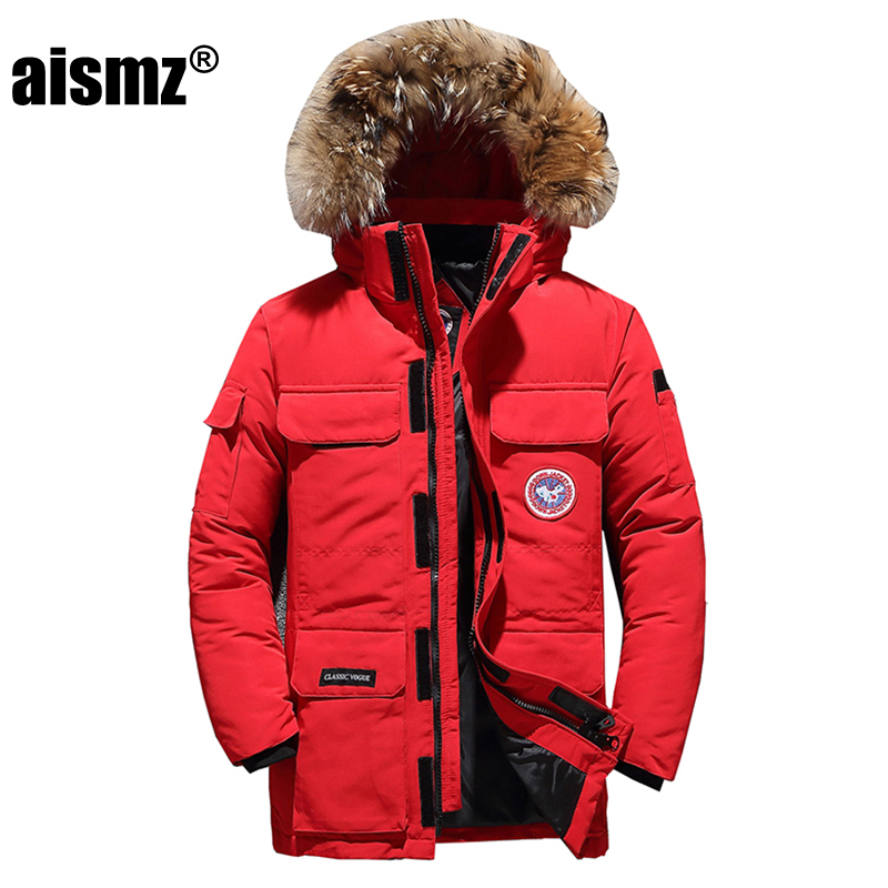 Aismz   Down   Jackets Men Winter Jacket Men Fashion Thick Warm Parkas Fur White Duck   Down     Coats   Casual Man Waterproof   Down   Jackets