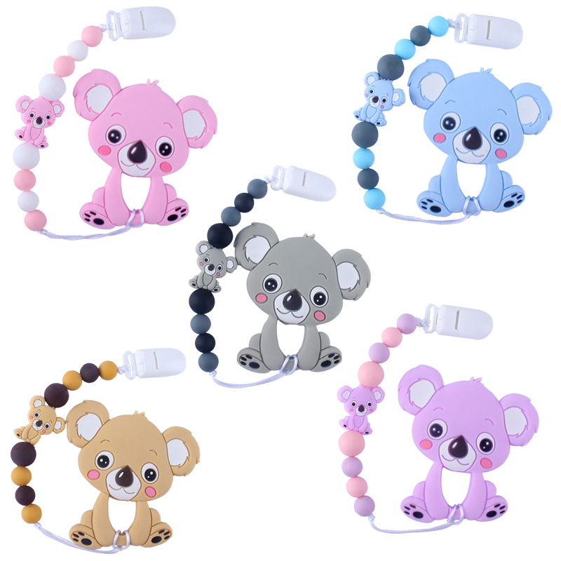 Baby Teethers Animal Silicone Beads Food Grade Koala Pendant Pacifier Clip Chain Baby Teething Toys Chewable Nursing Gift Girl
