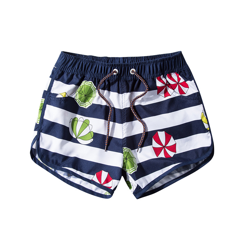 Summer New Style Stripes Printed Beach Shorts Women's Casual Quick-Dry Shorts Athletic Pants 1909