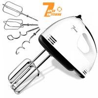 Batidora de Mano Eléctrica 7 velocidades batidora eléctrica de huevos de acero inoxidable, incluye 2 batidores y 2 ganchos para masa, robusta y fácil de limpiar