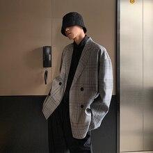 Autumn New Suit Blazer Men Fashion Retro Business Casual Plaid Jacket Man Streetwear Wild Loose Dress Male S-XL