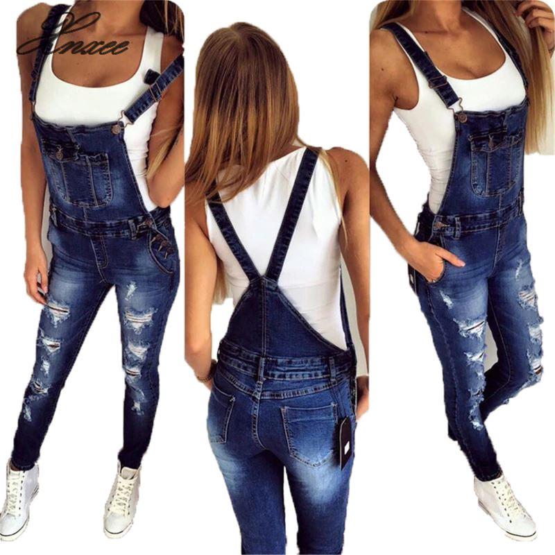 2019 Denim Bib Pants Women's Loose Large Size Women's Casual Overalls Jeans Women's Jumpsuit