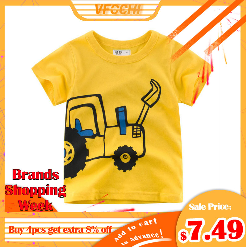VFOCHI New Arrival Boys T Shirt Yellow Cartoon Excavato Print Kids T Shirt 2-10Y Teenager Tee Tops Cute Boy Clothes Boy T Shirts
