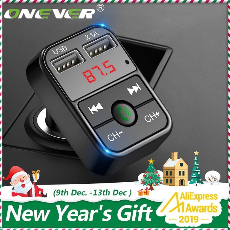 Onever <font><b>Bluetooth</b></font> FM Transmitter Car <font><b>MP3</b></font> Audio Music Player Dual USB Radio Modulator Car Kit HandsFree With 5V 2.1A USB Charger image