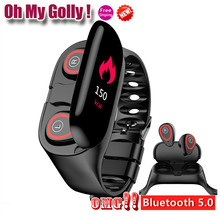 OMG ! M1 Newest AI Smart Watch With Bluetooth Earphone Heart Rate Monitor Smart Wristband Long Time Standby Sport Watch Men(China)