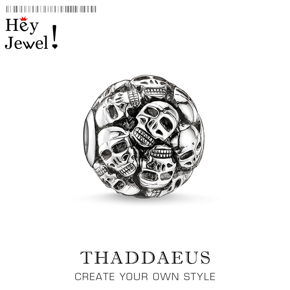 925 Sterling Silver Fashion DIY Accessories High Quality Big Hole Skull Bead Fit For Vintage Thomas Skeleton Beads For Bracelet