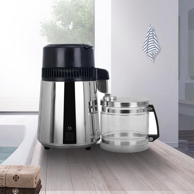 4L ホーム純水蒸留器機械蒸留水蒸留浄水器フィルターステンレス鋼ガラス瓶カーボンフィルター家族