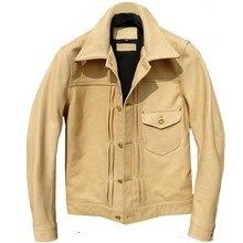 年! 送料無料。高級バティック牛革ジャケット、クラシックカジュアル 506 スタイル、スリム原色本革コート、品質
