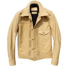 YR! Бесплатная доставка. Роскошная куртка из воловьей кожи батик, Классический Повседневный стиль 506, приталенное пальто из натуральной кожи основных цветов, качество