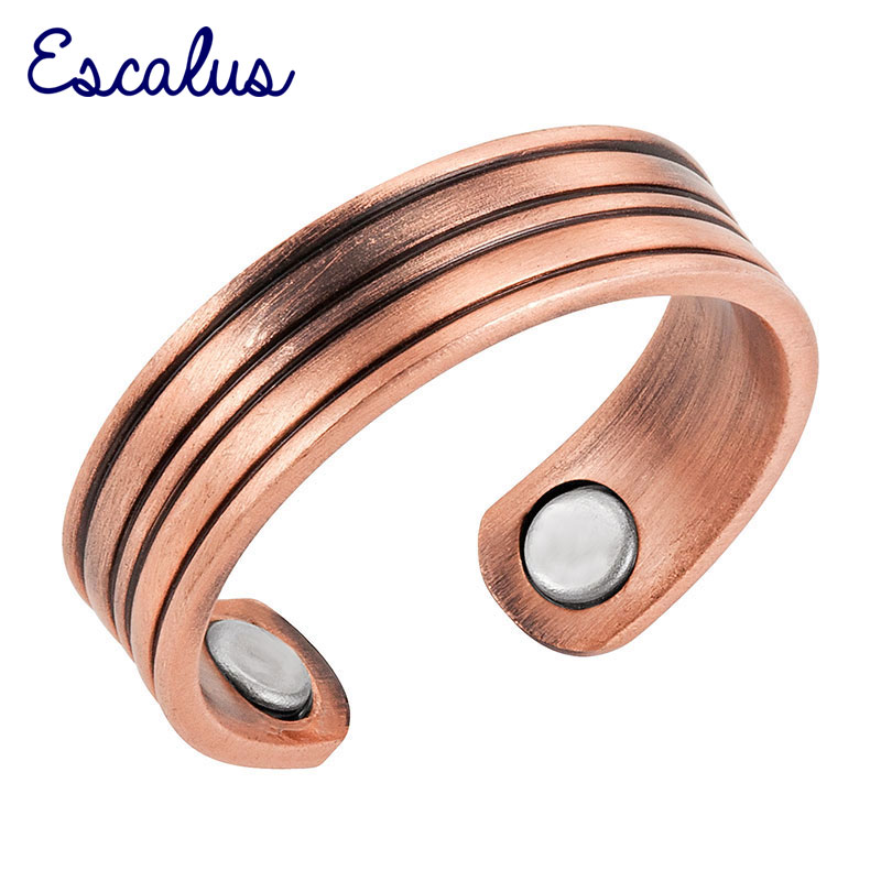 Escalus Classic Women Antique Copper Magnetic Ring Size Resizable Female Magnet Ladies Fashion Jewelry Finger Wear Charm