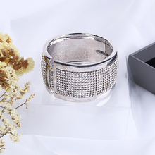 Fashionable temperament Glass-inlaid multi-layer metal bracelet exaggerated broadband Bracelet tidal hand ring simple jewelry