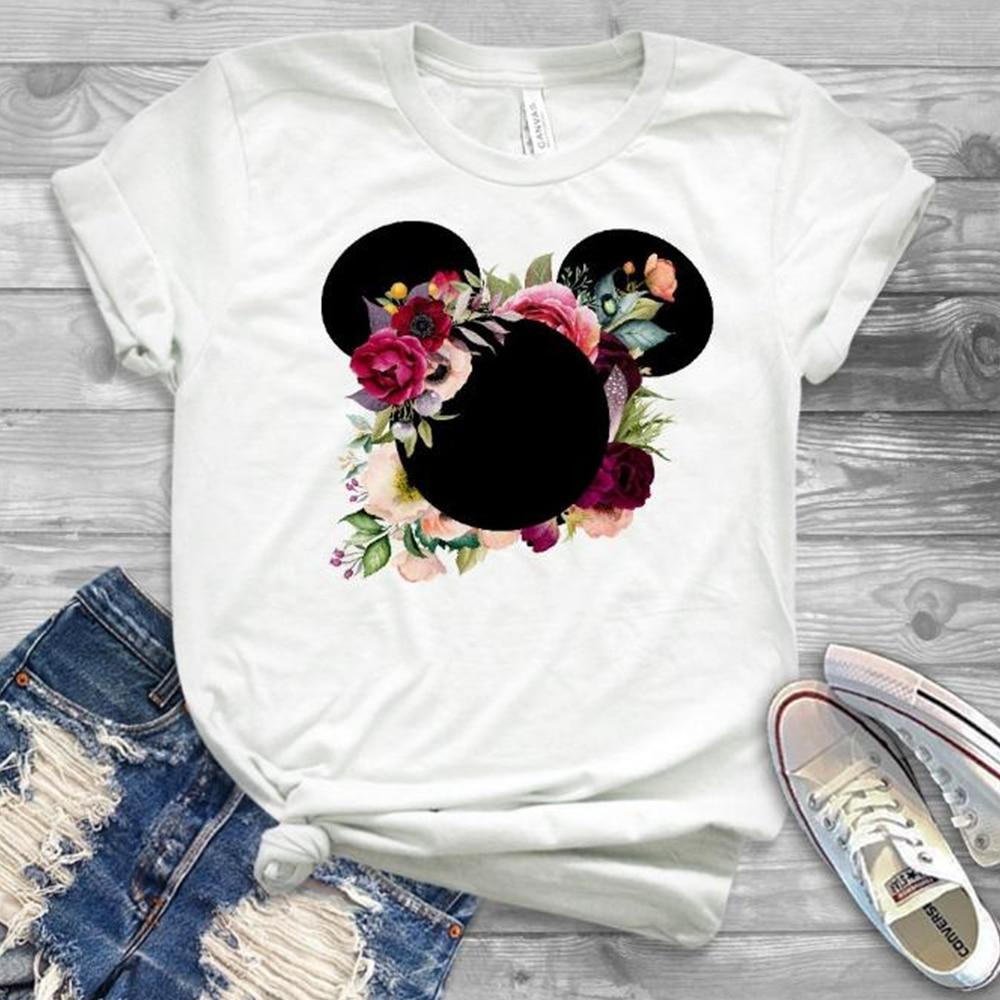 Women Fashion Graphic Flower Womens T-Shirt Cute Ear Tshirts Girl Laides Tumblr Tee Hipster Clothing Female T Shirt Print Tees