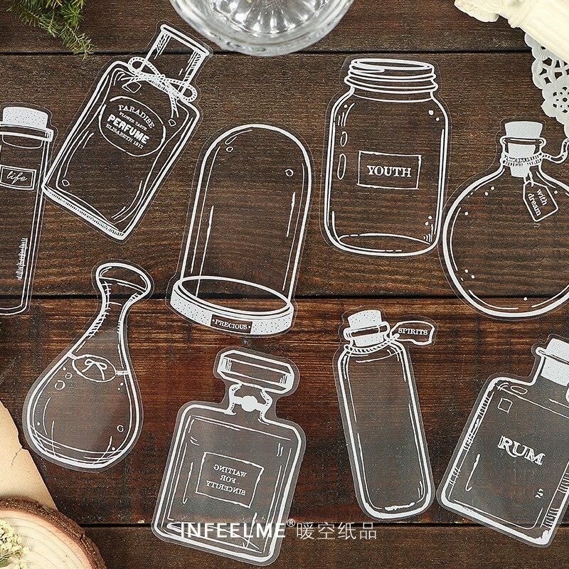 30 листов/ сумка прозрачная и красивая белая стеклянная посуда стикер эстетическая Личность милые канцелярские принадлежности альбом для в...