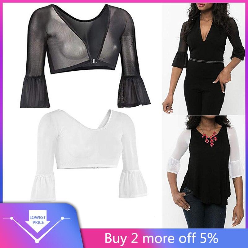 Women Both Side Wear Sheer Seamless Arm Shaper Tops Mesh Dress Shirt Blouse UK