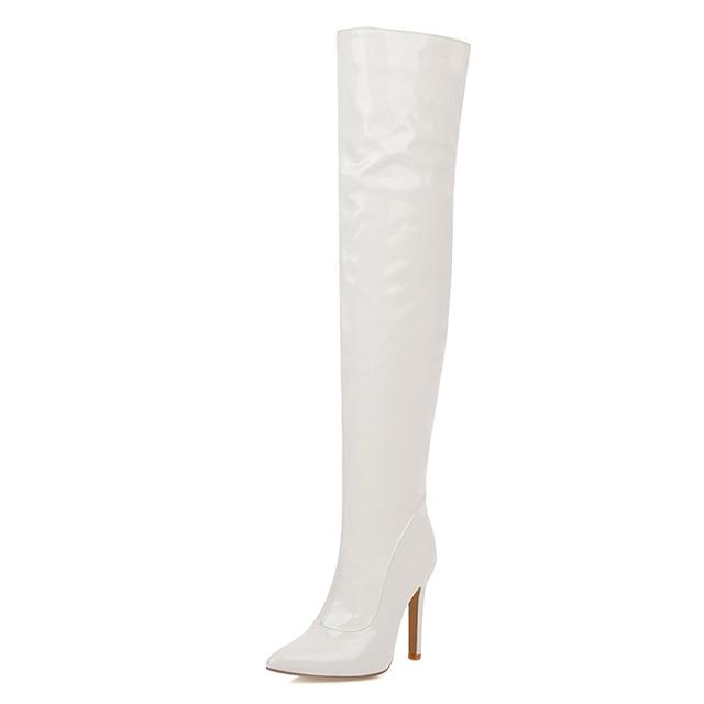 JK Sexy en cuir verni femmes longues bottes bout pointu talon mince chaussures hautes mode bottes décontractées Simple fermeture à glissière sur les bottes au genou