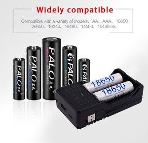 Image 5 - PALO AA AAA Battery Charger 18650 battery charger rechargeable battery charger for AA 3A 18650 14500 17500 with LED display