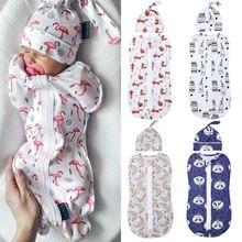 Детские спальные мешки для новорожденных; Хлопковое одеяло на молнии для пеленания; спальный мешок+ шапочка; 2 шт.; Размер 0-6 м