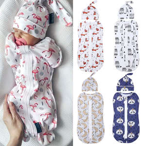 Zipper Swaddle Blanket Sleeping-Bags Newborn-Baby 2pcs Hat Wrap Cotton Size-0-6m